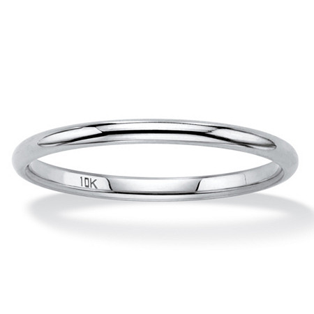 Polished Wedding Ring Band in 10k White Gold (2mm) at PalmBeach Jewelry