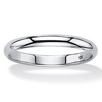 Polished 10k White Gold Wedding Band (3mm)