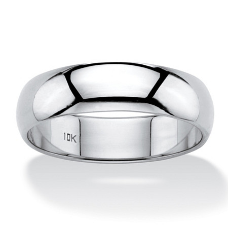 Polished 10k White Gold Wedding Band (6mm) at PalmBeach Jewelry
