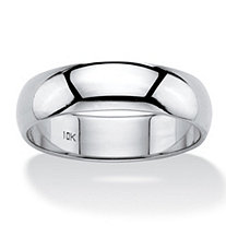 Polished 10k White Gold Wedding Band (6mm)