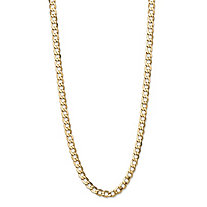 Polished Curb-Link Chain Necklace with Lobster Clasp in Semi-Solid 10k Yellow Gold 24