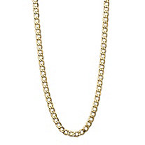 Polished Curb-Link Semi-Solid 10k Yellow Gold Chain Necklace with Lobster Clasp 24
