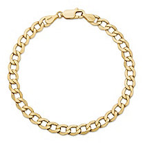 SETA JEWELRY Curb-Link Chain Bracelet in Solid 10k Yellow Gold 8