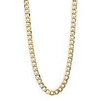 Polished Curb-Link Chain Necklace with Lobster Clasp in Semi-Solid 10k Yellow Gold 20
