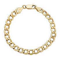 "Curb-Link Chain Bracelet in 10k Yellow Gold 7"" (6.5mm)"