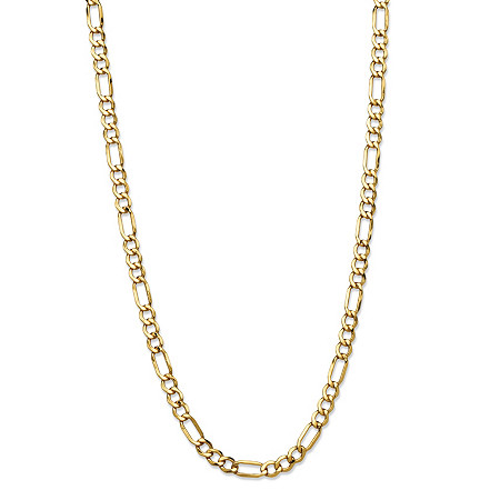 Polished Figaro-Link Chain Necklace in 10k Yellow Gold 24
