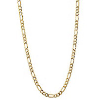 Polished Figaro-Link Chain Necklace with Lobster Clasp in Semi-Solid 10k Yellow Gold 24