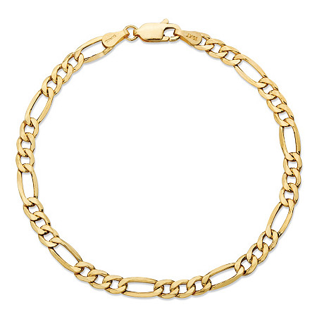 Polished Figaro-Link Chain Bracelet in Solid 10k Yellow Gold 8