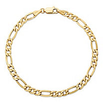 SETA JEWELRY Polished Figaro-Link Chain Bracelet in Solid 10k Yellow Gold 8