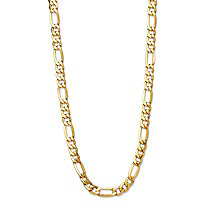 Polished Figaro-Link Chain Necklace with Lobster Clasp in Semi-Solid 10k Yellow Gold 20