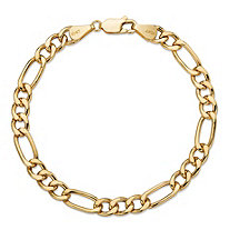 Polished Figaro-Link Chain Bracelet with Lobster Clasp in Solid 10k Yellow Gold 7