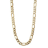 Polished Figaro-Link Semi-Solid 10k Yellow Gold Chain Necklace with Lobster Clasp 18