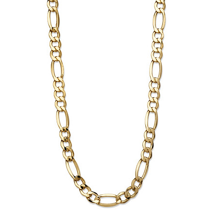 "Polished Figaro-Link Chain Necklace in 10k Yellow Gold 20"" (7.5mm) at PalmBeach Jewelry"