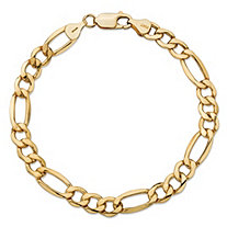 "Polished Figaro-Link Chain Bracelet in 10k Yellow Gold 7"" (7.5mm)"
