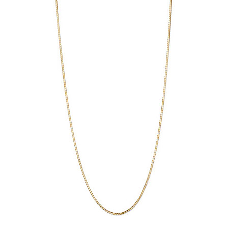 Polished Box-Link Chain Necklace in Solid 10k Yellow Gold 18