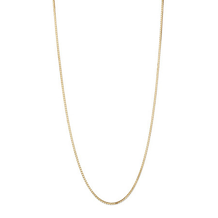 "Polished Box-Link Chain Necklace in Solid 10k Yellow Gold 24"" (1mm) at PalmBeach Jewelry"