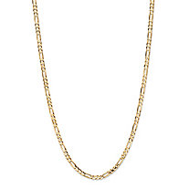 "Polished Figaro-Link Chain Necklace in Solid 10k Yellow Gold 24"" (3mm)"