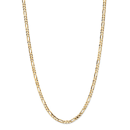 """Polished Figaro-Link Chain Necklace in Solid 10k Yellow Gold 30"""" (3mm) at PalmBeach Jewelry"""