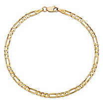 Polished Figaro-Link Chain Bracelet with Lobster Clasp in Semi-Solid 10k Yellow Gold 7