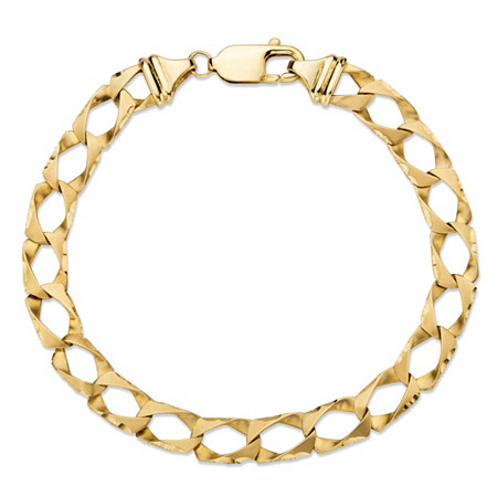Diamond-Cut Flat Profile Curb-Link Chain Bracelet in Solid 10k Yellow Gold 8