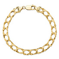 "Diamond-Cut Flat Profile Curb-Link Chain Bracelet in Solid 10k Yellow Gold 8"" (7mm)"