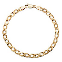 Polished and Textured Angled Curb-Link Bracelet with Lobster Clasp in Semi-Solid 10k Yellow Gold 8