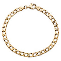 "Flat Profile Curb-Link Chain Bracelet in Solid 10k Yellow Gold 8"" (5mm)"