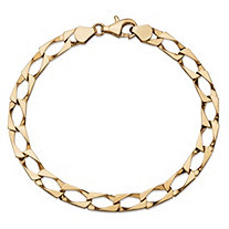 Flat Profile Curb-Link Chain Bracelet in Solid 10k Yellow Gold 8