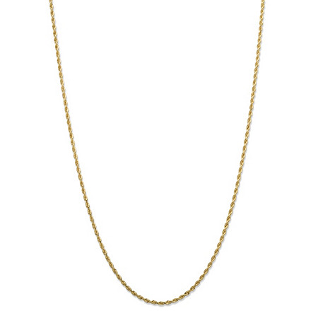 Twisted Rope Chain Necklace in Solid 10k Yellow Gold 24