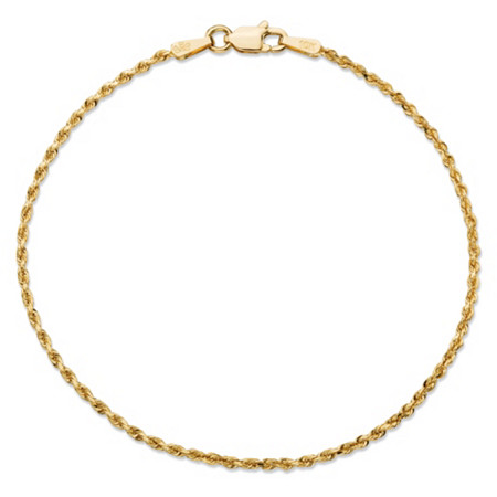 Rope Chain Bracelet in Solid 10k Yellow Gold 7