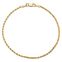 "Rope Chain Bracelet in Solid 10k Yellow Gold 8"" (1.7mm)"