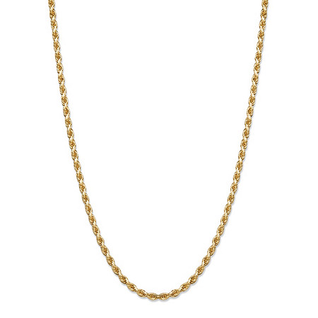 Rope Chain Necklace in Solid 10k Yellow Gold 20