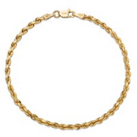 Rope Chain Bracelet In Solid 10k Yellow Gold ONLY $189.99