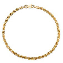 "Rope Chain Bracelet in Solid 10k Yellow Gold 7"" (2.75mm)"