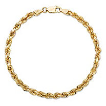 Rope Chain Bracelet with Lobster Clasp in Semi-Solid 10k Yellow Gold 9