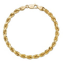 "Rope Chain Bracelet in Solid 10k Yellow Gold 7"" (5mm)"