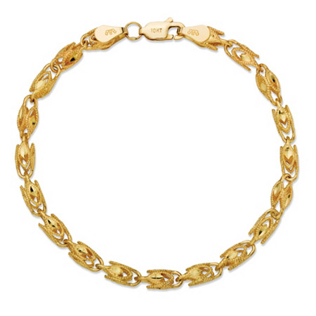 Diamond-Cut Marquise-Link Bracelet in Solid 10k Yellow Gold 8