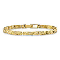 "Diamond-Cut Textured Nugget-Link Bracelet in Solid 10k Yellow Gold 7"" (4mm)"