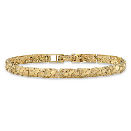 """Diamond-Cut Textured Nugget-Link Bracelet in Solid 10k Yellow Gold 8"""" (6mm) at PalmBeach Jewelry"""