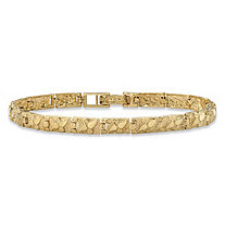 "Diamond-Cut Textured Nugget-Link Bracelet in Solid 10k Yellow Gold 8"" (6mm)"