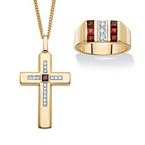 SETA JEWELRY Men's 2.40 TCW Genuine Red Garnet and Cubic Zirconia 14k Gold-Plated 2-Piece Ring and Cross Pendant Necklace Set 22