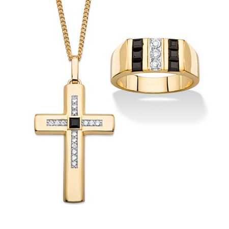 """Men's Genuine Black Onyx and Cubic Zirconia 2-Piece Ring and Cross Pendant Necklace Set .69 TCW Gold-Plated 22"""" at PalmBeach Jewelry"""