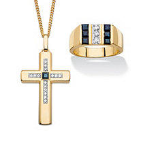 SETA JEWELRY Men's Genuine Blue Sapphire and Cubic Zirconia 2-Piece Ring and Cross Necklace Set 2.59 TCW 14k Gold-Plated 22
