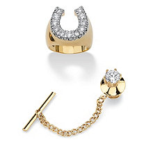 Men's 2.35 TCW Round Cubic Zirconia Lucky Horseshoe Ring and Tie Tack Set Gold-Plated