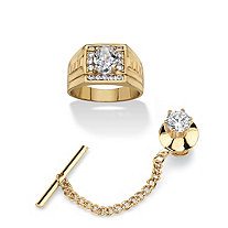 Men's 2.80 TCW Cubic Zirconia 2-Piece Oval-Cut Textured 14k Gold-Plated Ring and Gold Tone Tie Tack Set
