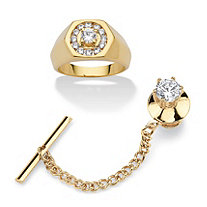 Men's 2.22 TCW Cubic Zirconia 14k Gold-Plated 2-Piece Hexagon Ring and Gold Tone Tie Tack Set