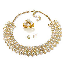 "Simulated Pearl and Austrian Crystal 3-Piece 14k Gold-Plated and Gold Tone Necklace, Stud Earrings and Ring Set 17""-19"""