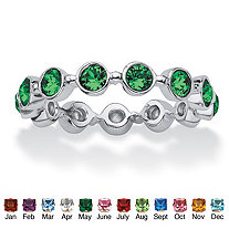 SETA JEWELRY Round Birthstone Crystal Stackable Eternity Ring in .925 Sterling Silver