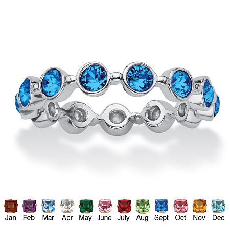Round Birthstone Crystal Stackable Eternity Ring in .925 Sterling Silver at PalmBeach Jewelry