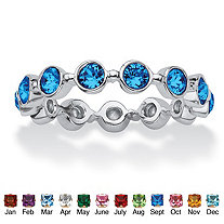Round Simulated Birthstone Crystal Stackable Eternity Ring in .925 Sterling Silver